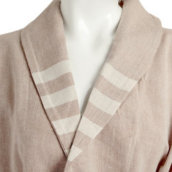 Turkish Hammam - Ultra lightweight, shawl collar, brown pestemal bathrobe with beige stripes. Without tassels.