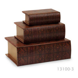 Nesting Classic Wooden Book Boxes - Set of 3 - *Nesting wooden book boxes, covered in colorful, faux leather.