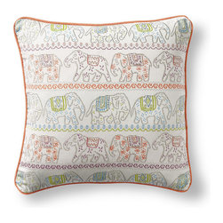 Frontgate - Reina Desert Outdoor Pillow - 100% Sunbrella® solution-dyed acrylic woven fabric. Finished with Apricot piping. Resists fading, mold and mildew. High-density polyester fill. Spot clean with mild soap and water; air-dry only. Our fun-loving Sunbrella Reina Desert Outdoor Pillow features lines of colorful marching elephants on parade. Pretty enough to use inside and durable enough to use outside, this vibrant pillow will hold its color and shape season after season. 100% Sunbrella solution-dyed acrylic woven fabric .  .  .  .  . Sewn closed . A Frontgate exclusive . Made in the USA.