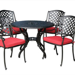 Kontiki - Kontiki Dining Sets - Metal Small (Ideal for 4 Seats) - [1.0 set/set]   Malleable in design and robust in structure, the Kontiki Bordeaux Collection adds style and substance to any outdoor space. The marrying of traditional and modern elements of French-inspired design, this collection is an excellent addition to any outdoor décor from chateau to cottage.     Advanced, resilient design and aesthetic       Promising low maintenance and an anti-corrosive surface, the cast aluminum composition of these patio sets offer a sleek and sturdy effect. Unlike wrought iron that begins to rust and break down structurally and aesthetically over time, the cast aluminum finish hones and refines its historic charm as it wears. The black coloring of the frames is accented by a gold-hued antique patina underneath that imbues a quaint, rustic quality to its surroundings. Complimented by the soft, round edges of the each frame, as well as a classic slat weave design, the Bordeaux Collection is at home in any contemporary or modern outdoor setting.    Less hassle, more savings      Patio Furniture is a big investment both financially and physically. We know that the sting of transporting and unloading these logistical nightmares can be just as hard on your wallet as it can on your back; that's why we work every day to eliminate both pain points from your customer experience. We're constantly vetting the industry and engaging the best suppliers in the market to ensure we source only the finest quality products. By building these strong relationships, we are able to work in tandem with top tier manufacturers to eliminate unnecessary costs and guarantee unparalleled pricing.