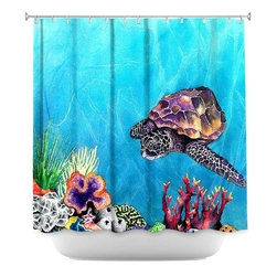 DiaNoche Designs - Shower Curtain Artistic - Sea Turtle - DiaNoche Designs works with artists from around the world to bring unique, artistic products to decorate all aspects of your home.  Our designer Shower Curtains will be the talk of every guest to visit your bathroom!  Our Shower Curtains have Sewn reinforced holes for curtain rings, Shower Curtain Rings Not Included.  Dye Sublimation printing adheres the ink to the material for long life and durability. Machine Wash upon arrival for maximum softness. Made in USA.  Shower Curtain Rings Not Included.