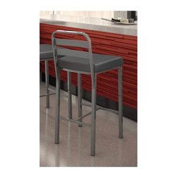 Amisco - Alberto Bar Stool in Glossy Grey Finish - Ink colored fabric upholstery. 18 in. W x 19 in. D x 39.5 in. H (16.5 lbs.)