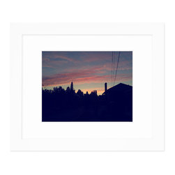 "Hip Pictures - ""Into the Night (Cool)"" - 11x14 - Seamless White Frame 16x20 - Coming up the east side of Capitol Hill in Seattle, I just had to pull over and snap the sunset sky at the end of a long, beautiful summer day."