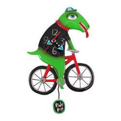 Zeckos - Allen Designs Ride Big Bike Dinosaur Bicycle Pendulum Wall Clock - This whimsical bike-riding dinosaur pendulum clock is called 'Ride Big Bike', and is by Allen Designs. Made of cold cast resin, the clock features a dinosaur in a black shirt and baseball cap riding a red bicycle. A pendulum that reads 'Ride Big' swings back and forth below the bicycle. The clock is coated in polyurethane to keep the colors bright and give it a glossy look. It measures 15 inches high, including the pendulum, and is 9 1/2 inches wide. it's a must-have for cycling fanatics.