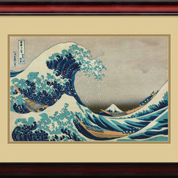 Amanti Art - Katsushika Hokusai 'The Great Wave off the Coast of Kanagawa' Framed Art Print 2 - A prolific Japanese painter & graphic artist, Hokusai was a renowned exponent of the color print. This popular image is his best known, exuding the great power of the wave but incorporating the delicacy of form instilled by a Japanese master.