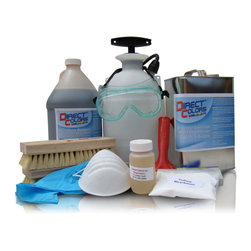 Direct Colors Inc. - DIY Concrete Acid Stain Kit, Azure Blue, Dci Water-Based Satin Finish Sealer - This kit includes one gallon of Azure Blue Concrete Acid Stain and one gallon of DCI Water-based Satin Finish Sealer (water-based sealer).