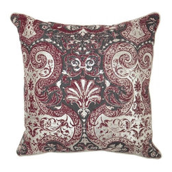 Villa Home - Bordeaux Allure Burgundy Pillow - Get lost in a kaleidoscope of intricate design with our Allure Burgundy Pillows.  A rich color palette that will add intoxicating spice to any living area combined with a lavish down insert for spine-tingling comfort.