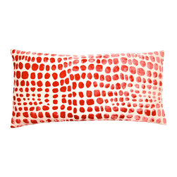 "Square Feathers - Red Cheetah Pillow - When animal print is done in unexpected colors, it takes on a completely fresh look. It's reminiscent without screaming ""cheetah!"" and could work in a more modern or contemporary setting."
