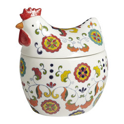 Painted Rooster Cookie Jar - This is simply a pretty painted rooster.