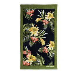 Frontgate - Tommy Bahama Palm Beach Towel - 100% ring-spun cotton woven to 450 gsm. Preshrunk. Fiber reactive dyes ensure that the design will stand up to numerous washings. Machine wash cold; tumble dry low. A Frontgate exclusive. Whether you're bronzing on white sand beaches, or drying off after a dip in the waves, the durable and soft Tommy Bahama Beach Towels are the perfect paradise essential. The plush and absorbent towels are adorned with vibrant tropical designs in bold, bright colors. Loomed from the highest-quality cotton, the generously sized towels feature a silky cut pile which reverses to soft, luxurious terry.  .  .  .  .  .