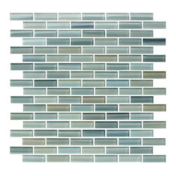 """Rocky Point Tile - Reflections Hand Painted Glass Mosaic Subway Tile, Mixed, 4"""" X 6"""" Sample - The blues, greens, ocher and pinch of black in these hand-painted glass mosaic tiles makes for a versatile combination that adapts to your decor. Use it as a kitchen backsplash behind a stainless steel countertop or a warm butcher block top — paired with cool or warm surroundings in the bath or kitchen, it always blends in perfectly. How's that for playing nice?"""