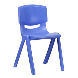 Flash Furniture - Flash Furniture Blue Plastic Stackable School Chair with 18 Inch Seat Height - This contoured chair will provide comfort for students of all ages. This chair is not only great in the classroom, but conforms to environments in the home for studying. The lightweight design of this chair allows for easy movement around the classroom. [YU-YCX-007-BLUE-GG]