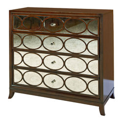 American Drew - American Drew Motif Mirrored Media Chest in Walnut - Mirrored Media Chest in Walnut belongs to Motif Collection by American Drew Walnut Veneer with Exotic Figured Mozambique Mwdia Chest (1)
