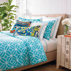 Grandin Road - Trina Turk Trellis Comforter Set - Trina Turk comforter set with a trellis motif. Vibrant and graphic. Jacquard print in comfortable cotton. Conveniently machine washable. Set includes comforter and two shams. Awaken refreshed and invigorated by the lively turquoise and white tones and eye-tantalizing design of our Trina Turk Trellis Comforter Set. An easy way to bring your bedroom oasis new life on its own, or paired with any of our complementing coordinates. Create the designer escape you've dreamed of, and live the complete Trina Turk lifestyle.  .  .  .  . . Sheeting and throw pillows sold separately. Imported.