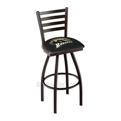 Holland Bar Stool - Holland Bar Stool L014 - Black Wrinkle Western Michigan Swivel Bar Stool - L014 - Black Wrinkle Western Michigan Swivel Bar Stool w/ Ladder Style Back belongs to College Collection by Holland Bar Stool Made for the ultimate sports fan, impress your buddies with this knockout from Holland Bar Stool. This contemporary L014 Western Michigan stool carries a defined Ladder-style-back that doesn't just add comfort, but sophistication. Holland Bar Stool uses a detailed screen print process that applies specially formulated epoxy-vinyl ink in numerous stages to produce a sharp, crisp, clear image of your desired logo. You can't find a higher quality logo stool on the market. The plating grade steel used to build the frame is commercial quality, so it will withstand the abuse of the rowdiest of friends for years to come. The structure is powder-coated black wrinkle to ensure a rich, sleek, long lasting finish. Construction of this framework is built tough, utilizing solid welds. If you're going to finish your bar or game room, do it right- with a Holland Bar Stool. Barstool (1)