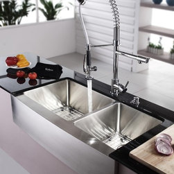 """Kraus KHF203-36-KPF1602-KSD30CH 36 inch Double Famhouse Sink and Faucet Combo - APPLY COUPON CODE """"EDHOUZ50"""" AT CHECKOUT. JUST OUR WAY OF SAYING THANKS."""