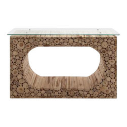BZBZ38429 - Hole Klaten Portable Console with Glass and Spacious Top Panel - Hole Klaten Portable Console with Glass and Spacious Top Panel. A unique hole klaten console table, this is designed to artistic perfection and to rich details. Some assembly may be required.