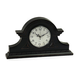None - Wood Regent Stately Black Captain's Mantel Clock - This mantel clock comes in a Regent style perfect for any decor. Handcrafted of wood,this Captain's clock offers a stately black color that will bring that special touch to any room.