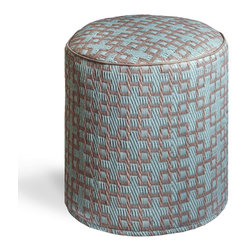 Fab Habitat - Rheinsberg - Powder Blue & Warm Taupe Pouf - Sleek interlocking geometrics make up the stunning pattern of this modern pouf, making it the perfect fit for your contemporary decor. Handmade by artisans from recycled materials, this easy to clean round ottoman is ultra sophisticated.