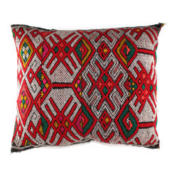 Crisscross Moroccan Pillow - Red and green combinations are not just for Christmas anymore. This one-of-a-kind pillow is made from a vintage Berber rug that effortlessly unites the two colors to create a throw pillow you can use all-year round. The crisscross pattern and rich texture give your room decor a lively, unique look.