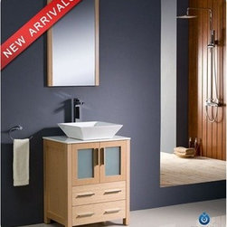 "Fresca - Fresca Torino 24"" Light Oak Modern Bathroom Vanity with Vessel Sink - Fresca is pleased to usher in a new age of customization with the introduction of its Torino line. The frosted glass panels of the doors balance out the sleek and modern lines of Torino, making it fit perfectly in either 'Town' or 'Country' d??cor. Available in the rich finishes of Espresso, Glossy White, Light Oak and Walnut Brown, all of the vanities in the Torino line come with either a ceramic vessel bowl or the option of a sleek modern ceramic integrated sink. Features Materials: Plywood w/ Veneer, Ceramic Sink Single Hole Vessel Faucet Mount (Faucet Shown In Picture May No Longer Be Available So Please Check Compatible Faucet List) P-trap, Faucet, Pop-Up Drain and Installation Hardware Included Overflow: No How to handle your counterInstallation Guide View Spec Sheets"