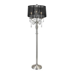 Ashford Classics Lighting - Crystal Chandelier Floor Lamp with Black Drum Shade in Satin Nickel - 2239F-09 - Crystal Satin Nickel 3-light floor lamp. Takes (3) 40-watt incandescent Flame bulb(s). Bulb(s) sold separately. Dry location rated.
