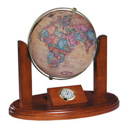 Replogle - Executive Desktop World Globe - Features such as a quartz clock, brass-plated Gyromatic mounting and walnut-finish wood base have made the Executive one of our most popular gift and award globes!