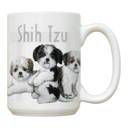 300-Shih Tzu Mug - 15 oz. Ceramic Mug. Dishwasher and microwave safe It has a large handle that's easy to hold.  Makes a great gift!