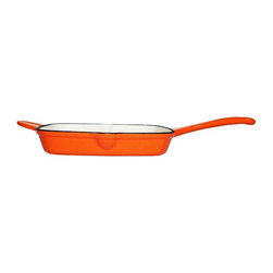 """Le Chef Cookware - Le Chef Orange Enamel Cast Iron Square Grill Pan, 10.5"""" - Le Chef® Enamel Cast Iron Orange Square Grill Pan is durable quality. All enamel cast iron grill pans are preseasoned interior ,allowing a lower price with the same quality of all other comparable enamel cast iron cookware. Simplicity, style and performance are the hallmarks of Paylesscookware. Our cookware is versatile, energy efficient and long lasting. Energy efficient Enamel cast iron distributes heat evenly, prevent foods from forming lumps or burning, and retains heat longer to keep foods hot for serving. Cut the fat, retain the flavor. Ribbed base separates the fat from the food allowing for healthier cooking and sears food evenly with characteristic char lines. Durable cast iron. Hand wash."""