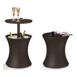 Keter Rattan Cool Bar - Wouldn't it be wonderful if you could have a side table to set your drink on that also holds cold beverages? This cooler and cocktail table in one does double-duty to serve your outdoor needs.