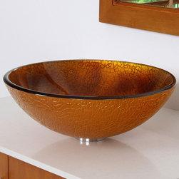 Elite - ELITE 7008 Modern Ice Crack Design Tempered Glass Bathroom Vessel Sink - Brand new design from Europe.