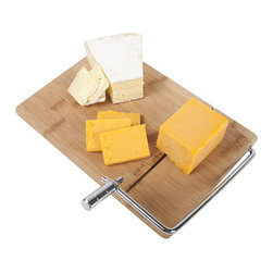 Slice & Serve Bamboo Cheese Board - Whether you're hosting brunch for friends, having an elegant dinner with your boss, or you just love cheese and all things nice, the Slice & Serve Bamboo Cheese Board makes a clean addition for any occasion. Use the easy-to-grip handle to pull up the cutting wire, place your cheese of the day on the board, and smoothly cut into the toughest of cheeses for the perfect pieces and thickness every time.