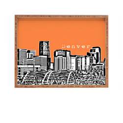 DENY Designs - Bird Ave Denver Orange Rectangular Tray - With DENY'S multifunctional rectangular tray collection, you can use it for decoration in just about any room of the house or go the traditional route to serve cocktails. Either way, you'll be the ever so stylish hostess with the mostess!