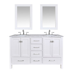 "60"" Malibu Pure White Double Sink Bathroom Vanity With 24"" Mirrors - An ideal complement to a contemporary decor, the 60"" Malibu Double Sink Vanity embodies the clean edges and sophistication of modern design. The pure white cabinet, made of solid oak lends a cozy feeling to your bathroom that matches beautifully with the Carrara White Marble top. Sleek and simple stainless steel hardware dresses up the European soft-closing sliders and doors, which give you ample space to store your bathroom items."