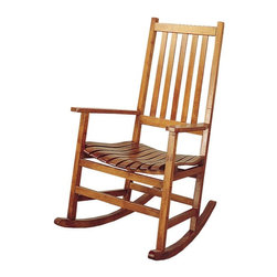 Adarn Inc. - Coaster Traditional Square Legs Wooden Rocking Chair in Oak Finish - This simple wood rocker will look great in your casual or traditional style home. The lovely porch style rocking chair has a simple look, with a straight vertical slat back and contoured slat seat for comfort. In a light Oak finish, this rocking chair will complement your decor. Straight wooden arms frame the piece, with square legs and a wood rocker base below. Add this casual rocker to your home for a classic look and soothing relaxation.
