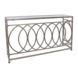 Uttermost - Uttermost Aniya 60x16 Rectangular Console Table w/ Glass Top - Antiqued Silver Leaf Iron with Clear Glass Top.