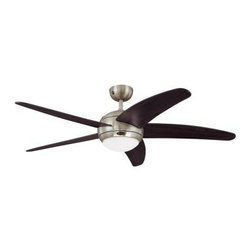 Westinghouse - Indoor Fan and Light Kit: Westinghouse Bendan 52 in. Satin Chrome Ceiling Fan 72 - Shop for Lighting & Fans at The Home Depot. With its lustrous satin chrome finish, 5 curved, tapered wengue plywood blades, and opal frosted glass light fixture, the Westinghouse Bendan 52 in. Satin Chrome Ceiling Fan will add modern style and comfort to any room. Ideal for rooms up to 400 sq. ft. (20 ft. x 20 ft.) with standard 8 ft. ceilings, this fan features a 153 mm x 18 mm cold-rolled steel motor with dual capacitor for powerful, quiet air circulation. 3 fan speeds (high/medium/low) and a reversible switch allow maximum control over your indoor climate. Run the fan counterclockwise in the summer to keep your space cooler and clockwise in the winter to recirculation warm air from the ceiling. The ceiling fan provides airflow of up to 4,739 CFM. It is rated to operate at 60 watts at high speed (without lights), which gives it an airflow efficiency rating of 79 CFM/watt. (As a comparison, 49 in. to 60 in. ceiling fans have airflow efficiencies ranging from approximately 51 to 176 CFM/watt at high speed.) The Bendan comes with everything you need for installation, including a 3/4 in. x 4 in. (D x L) down rod, a 78 in. lead wire, an R7 100 Watt halogen light bulb, and a 9-volt battery. It is backed by a lifetime motor warranty and a 2-year warranty on all other parts.