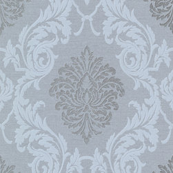 Bradford - Bh Buckingham Rennie Wallpaper - A truly high fashion wallpaper with regal styling's inspired by the British palace. Smoke grey and silver, with a sea blue tendency lend themselves beautifully to a dramatic damask print. Each wallpaper bolt is 20.5 inches wide and 33 feet long, covering about 56 square feet. The pattern has a 25.2 inch repeat and a Straight match.