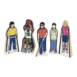 Guidecraft - Guidecraft Wooden Special Needs Children (Set of 5) - Guidecraft - Educational Toys - G100 - Five active children with special needs promote positive awareness and role models during play.