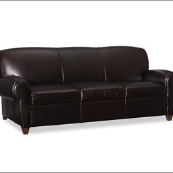 Manhattan Leather Sleeper Sofa - Titled for its urban-inspired design, the Manhattan Leather Sleeper Sofa by Pottery Barn is a well-tailored leather sofa bed.