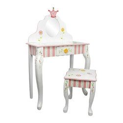 Fantasy Fields - Fantasy Fields Princess & Frog Vanity Table and Stool Multicolor - W-7455A - Shop for Vanities from Hayneedle.com! Let your little one prepare for the ball or get dressed for a fancy tea party with the Teamson Design Princess & Frog Vanity Table and Stool. This vanity set is crafted from wood and given a colorful hand-painted finish with a classic princess and frog theme. Kids will love the table size and will have fun using the sparkling mirror and handy drawer. The matching stool completes the fairytale look of this set.About Teamson DesignBased in Edgewood N.Y. Teamson Design Corporation is a wholesale gift and furniture company that specializes in handmade and hand-painted kid-themed furniture collections and occasional home accents. In business since 1997 Teamson continues to inspire homes with creative and colorful furniture.