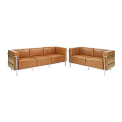 Modway - Charles Grande Leather Sofa and Loveseat Set Of 2 in Tan - Urban life has always a quandary for designers. While the torrent of external stimuli surrounds, the designer is vested with the task of introducing calm to the scene. From out of the surging wave of progress, the most talented can fashion a forcefield of tranquility. Perhaps the most telling aspect of the LC3 series is how it painted the future world of progress. The coming technological era, like the externalized tubular steel frame, was intended to support and assist human endeavor. While the aesthetic rationalism of the padded leather seats foretold a period that would try to make sense of this growth. The result is an iconic sofa series that became the first to develop a new plan for modern living. If previous generations were interested in leaving the countryside for the cities, today it is very much the opposite. If given the choice, the younger generations would rather live freely while firmly seated in the clamorous heart of urbanism. The LC3 series is the preferred choice for reception areas, living rooms, hotels, resorts, restaurants and other lounge spaces.