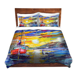 DiaNoche Designs - Duvet Cover Twill - Sunrise Sailing - Lightweight and super soft brushed twill Duvet Cover sizes Twin, Queen, King.  This duvet is designed to wash upon arrival for maximum softness.   Each duvet starts by looming the fabric and cutting to the size ordered.  The Image is printed and your Duvet Cover is meticulously sewn together with ties in each corner and a concealed zip closure.  All in the USA!!  Poly top with a Cotton Poly underside.  Dye Sublimation printing permanently adheres the ink to the material for long life and durability. Printed top, cream colored bottom, Machine Washable, Product may vary slightly from image.