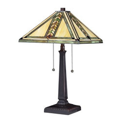 Z-Lite - Z-Lite Z14-45TL Shalimar 2 Light Table Lamp - Rich in earth tones, this tiffany style table lamp is a mixture of honey beige and variegated green glass in mission styling. To compliment the warm light of this fixture, hardware is finished chestnut bronze, creating the ultimate natured inspired look.Features: