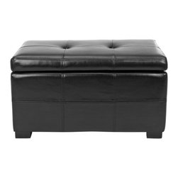 Safavieh - Maiden Tufted Storage Bench Sm - Black - Life is full of surprises. The Small Maiden Tufted Storage Bench is a perfect blend of storage and style, celebrating the art of living with its dual functionality. Crafted with black bicast leather and birch wood in a black finish, its petit storage chest and tufted seat are ideal for a room in need of a modern touch.