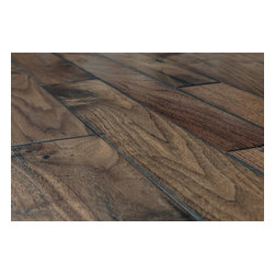 "Vanier - Vanier Engineered Hardwood - Handscraped Mixed Widths Collection - [19.0 sq ft/box] - American Walnut Natural / 9/16""x 5""-3 1/4""-2 3/4""xRandom Length -Vanier offers a 9/16"" thick, 8 ply, handscraped engineered line of flooring. The floor is produced as a mix of 2 3/4"", 3 1/4"", and 5"" widths with a 3 mm hardwood veneer face. A 100% handscraped face gives each plank a unique antique flooring appearance, something that machine scraped floors cannot offer. This collection of engineered flooring has a beveled ""french Bleed"" edge and is constructed with a precision tongue & groove joint. Some planks may be more distressed than others. Lay out boards before installing to ensure a satisfactory appearance."