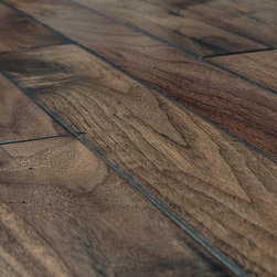 """Vanier - Vanier Engineered Hardwood - Handscraped Mixed Widths Collection - [19.0 sq ft/box] - American Walnut Natural / 9/16""""x 5""""-3 1/4""""-2 3/4""""xRandom Length -Vanier offers a 9/16"""" thick, 8 ply, handscraped engineered line of flooring. The floor is produced as a mix of 2 3/4"""", 3 1/4"""", and 5"""" widths with a 3 mm hardwood veneer face. A 100% handscraped face gives each plank a unique antique flooring appearance, something that machine scraped floors cannot offer. This collection of engineered flooring has a beveled """"french Bleed"""" edge and is constructed with a precision tongue & groove joint. Some planks may be more distressed than others. Lay out boards before installing to ensure a satisfactory appearance."""