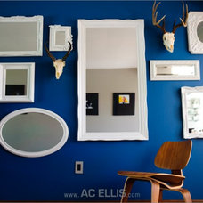 Eclectic Living Room Mirror and Head Wall