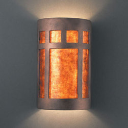 Justice Design Group - Ambiance Antique Copper Large Prairie Window Two-Light Bathroom ADA Wall Sconce - - Large Prairie Window Open Top & Bottom Wall Sconce. Mica Shade is for Indoor Only.  - Shade Detail - Mica  - Made in USA  - Shade Material - Ceramic Justice Design Group - CER5355ANTCMICA