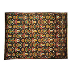 1800-Get-A-Rug - Bright Colors Sari Silk Black Suzani Design Handmade Oriental Rug Sh19797 - Silk was first developed in ancient China and was originally reserved for royalty because of its unique qualities. Thankfully, its special qualities are, today, available to all. A silk rug is the most intricate type of hand knotted Oriental carpet due to its one-of-a-kind fine lustrous weave, copious detail, and rich color combinations. Our collection includes stunning examples of classic Persian Tabriz, Kashan, Qum, Isfahan and the Turkish Hereke.